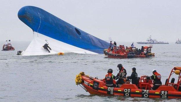 圖為2014年世越號船難搜救照片。