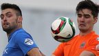 Action from Glenavon's 3-2 win over Linfield