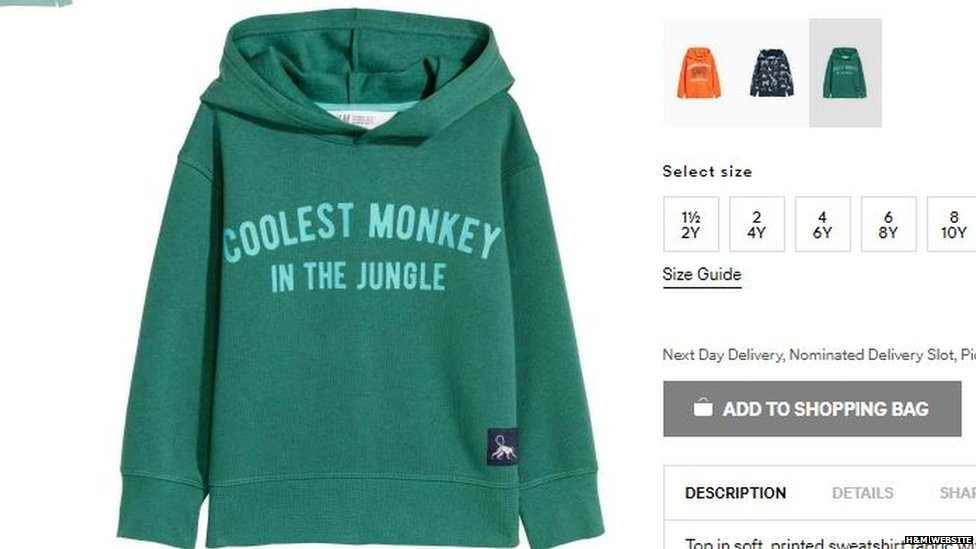 Racist' H&M coolest monkey hoodie banned by eB