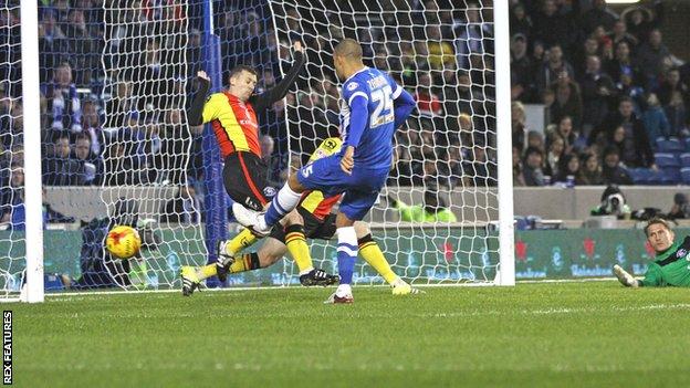 Bobby Zamora hits Brighton's second goal against Birmingham