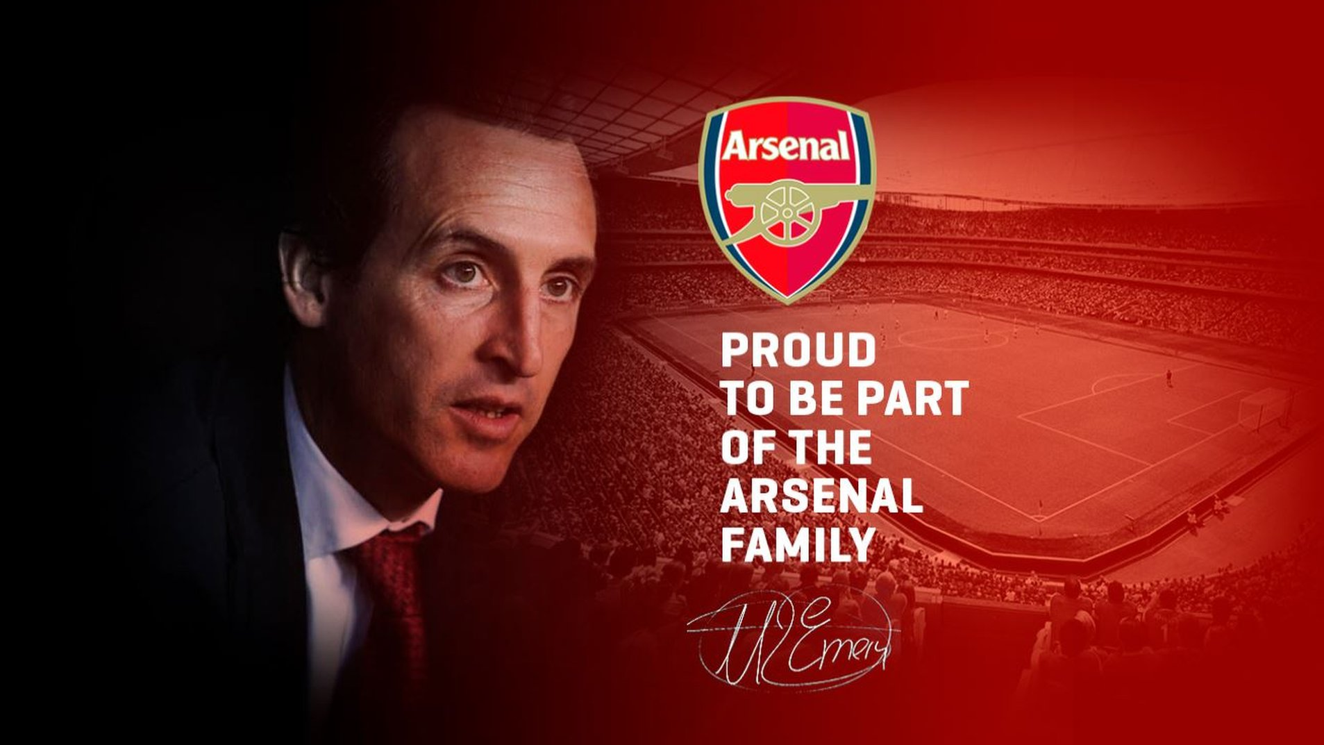 'Proud to be part of the Arsenal family' - official Emery website carries Gunners message