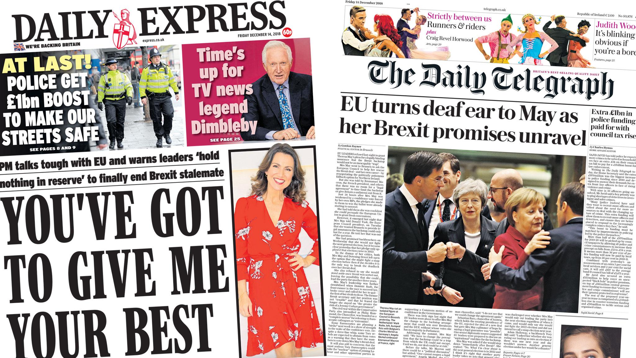 Paper review: May's 'last-ditch bid' as EU 'turns deaf ear'