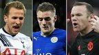 Harry Kane, Jamie Vardy and Wayne Rooney