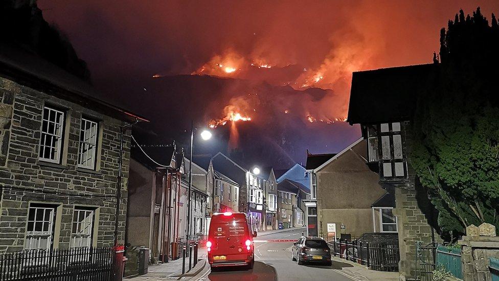 Blaenau Ffestiniog mountain fire: About 20 homes evacuated