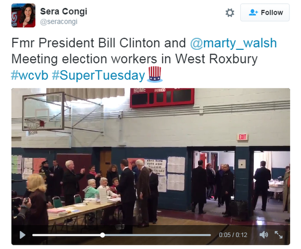 Still of video of Clinton at polling place