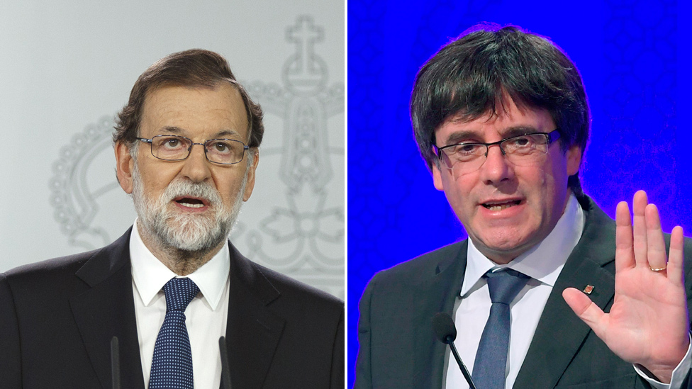 Spain PM Rajoy/Catalan leader Puigdemont