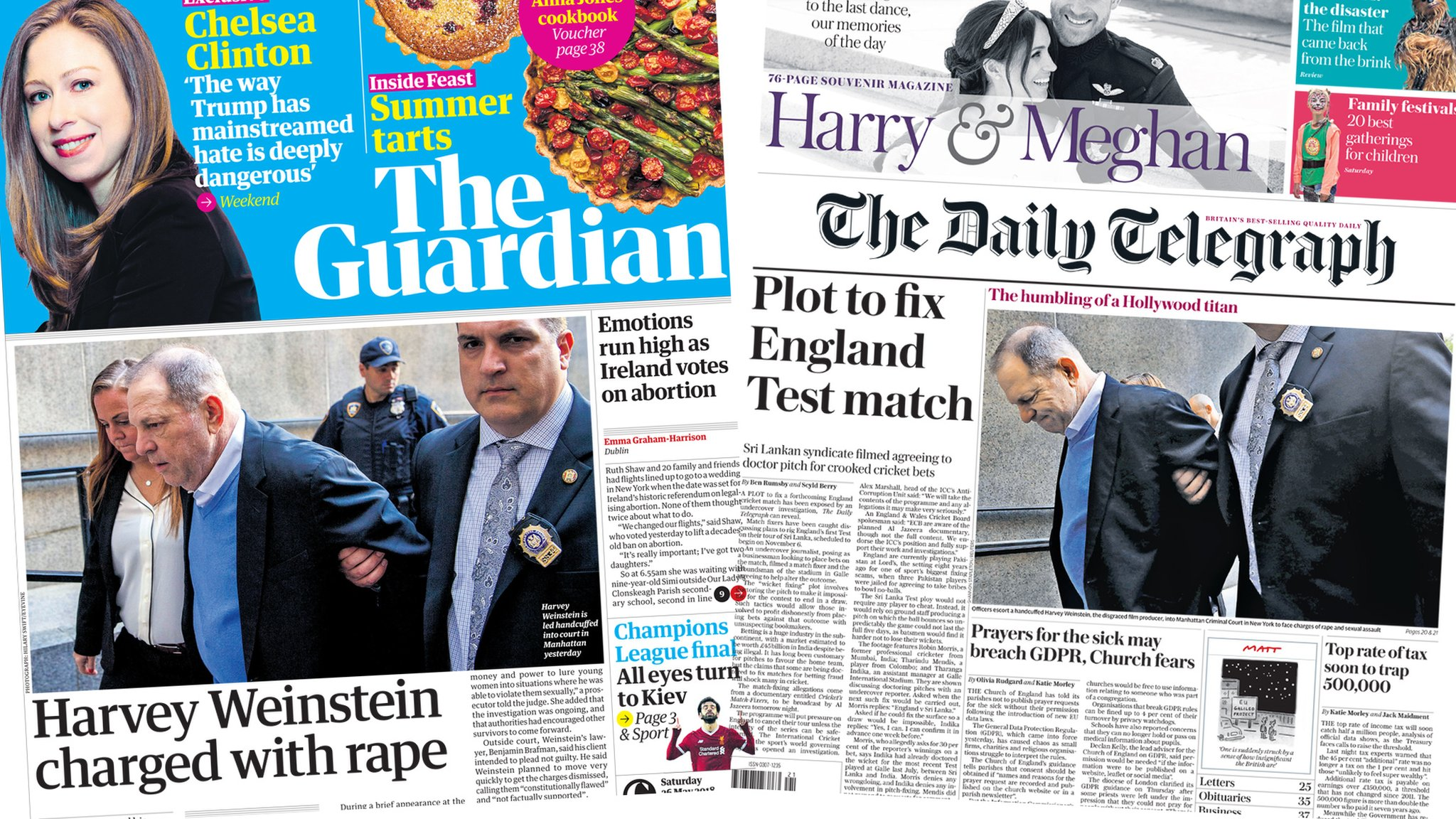 Newspaper headlines: Weinstein charged and £21m lottery win