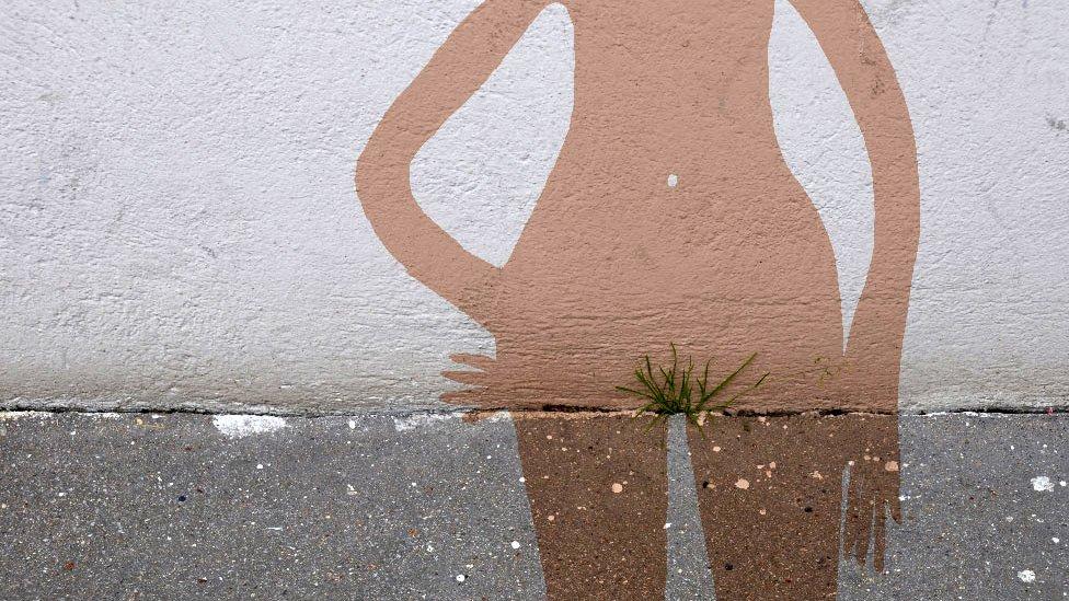 Obra de Sandrine Boulet en la pared de una calle