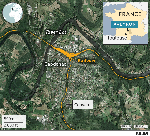 map of Aveyron with convent
