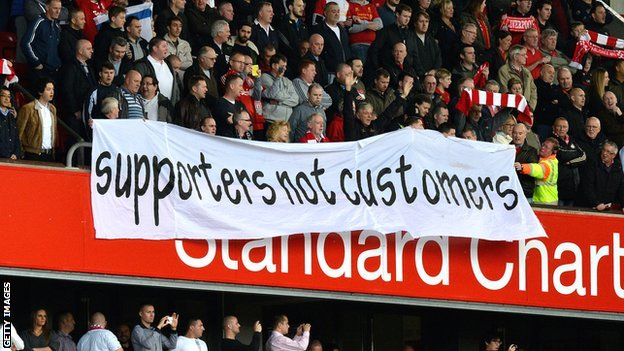 Liverpool fans protest against the increase in ticket prices