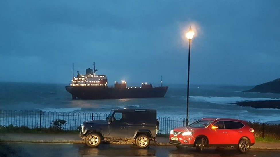 Russian cargo ship runs aground off Cornwall coast