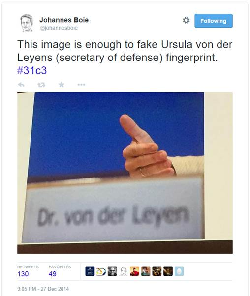 Huella dactilar de Ursula von der leyen.