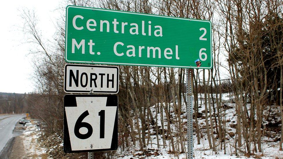 Centralia road sign
