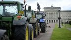 Tractors lined along Prince of Wales Avenue leading to Parliament Buildings at Stormont