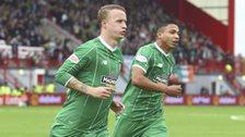 Celtic scorer Leigh Griffiths and Emilio Izaguirre