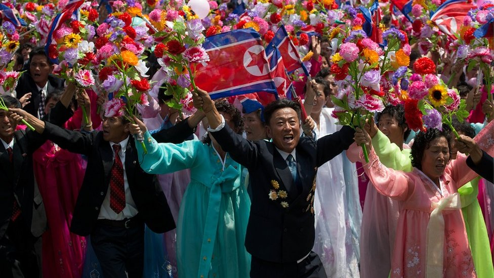 North Koreans celebrating
