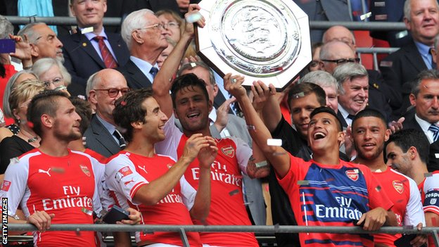 Arsenal players celebrate winning the Community Shield in 2014