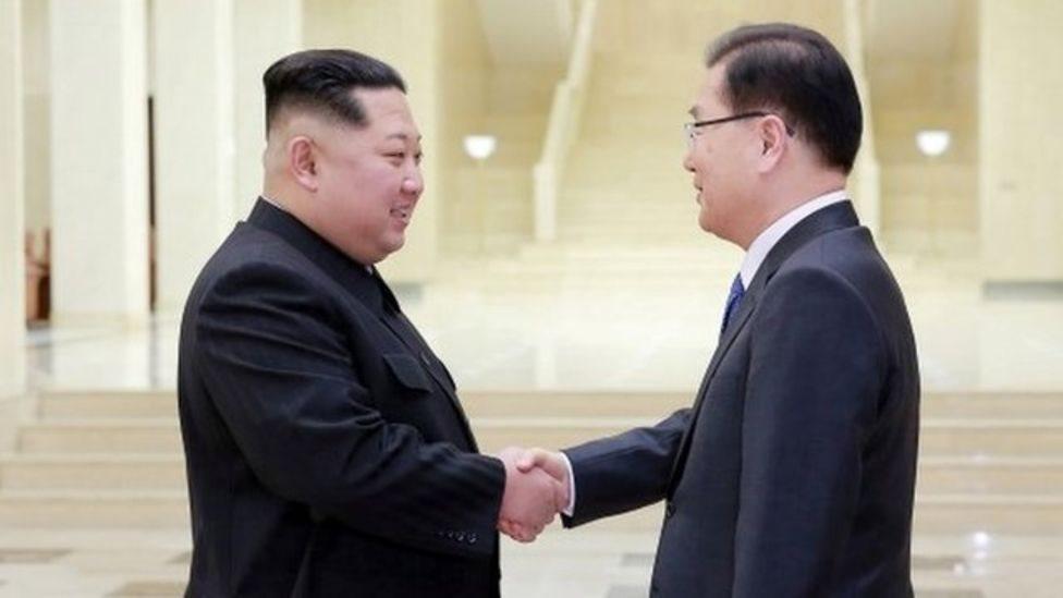 Kim Jong-un y Chung Eiu-yong.