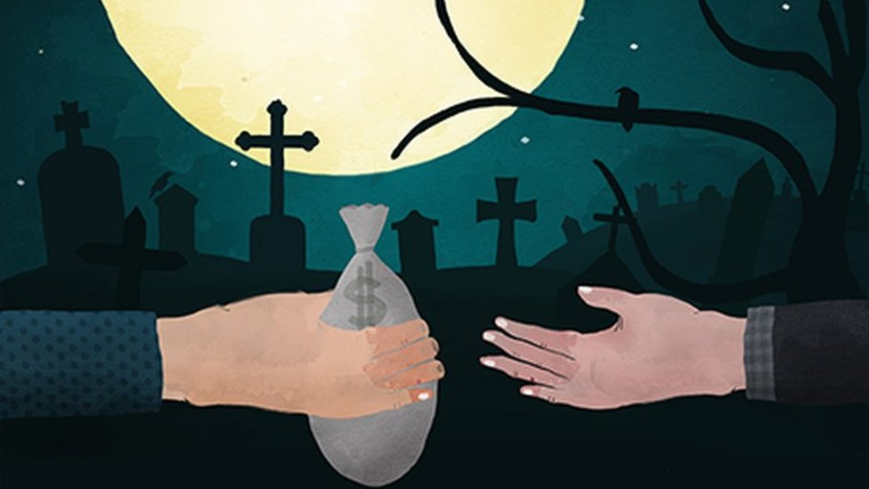 Painting of a bag of cash being handed over in a cemetery