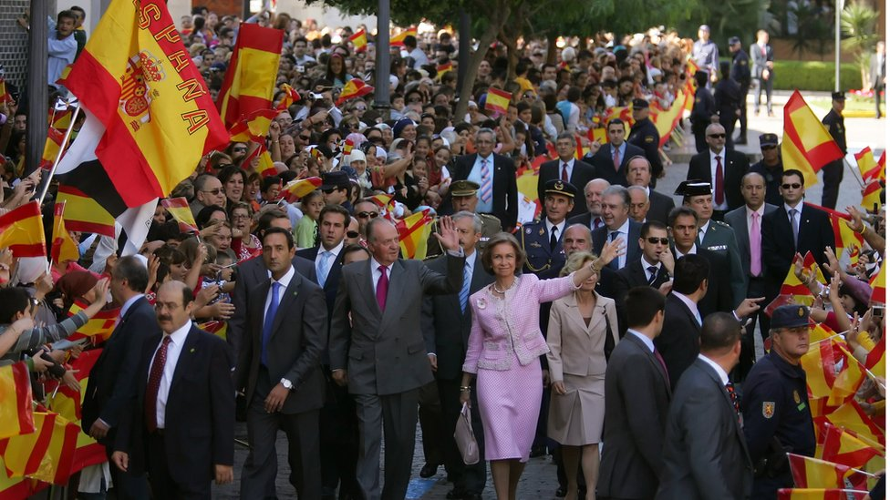 Street scene in Ceuta during visit by Spanish King in 2007