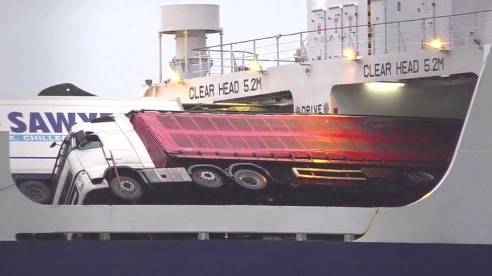 Lorries toppled after 'big dip' on Larne to Cairnryan ferry