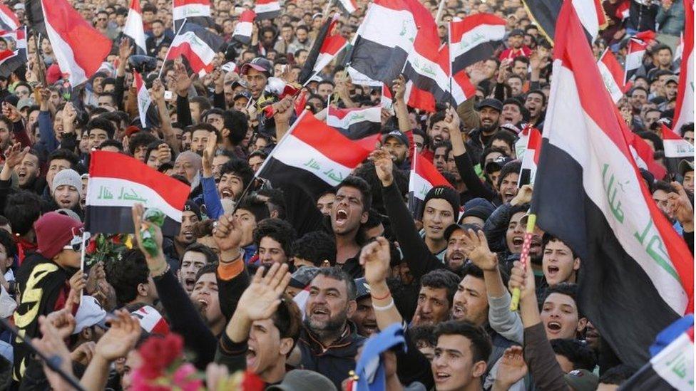 جانب من المظاهرات في بغداد