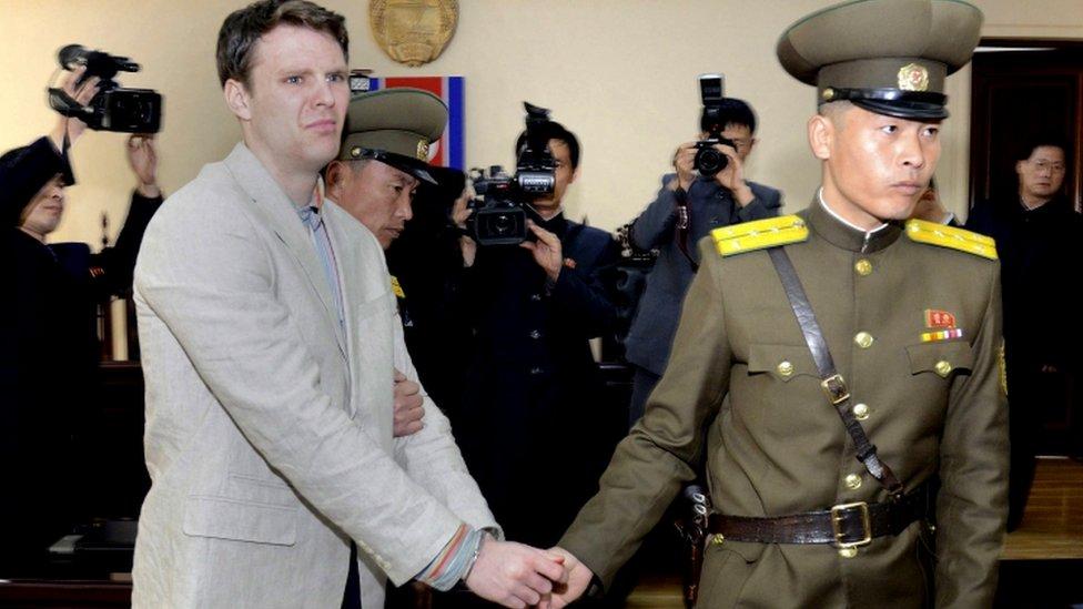 Otto Warmbier durante su juicio en marzo de 2016