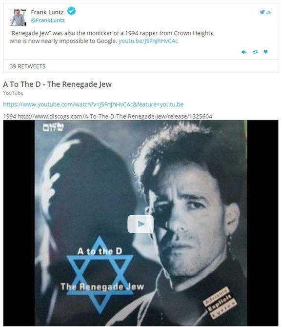 Tweet-Renegade Jew rapper