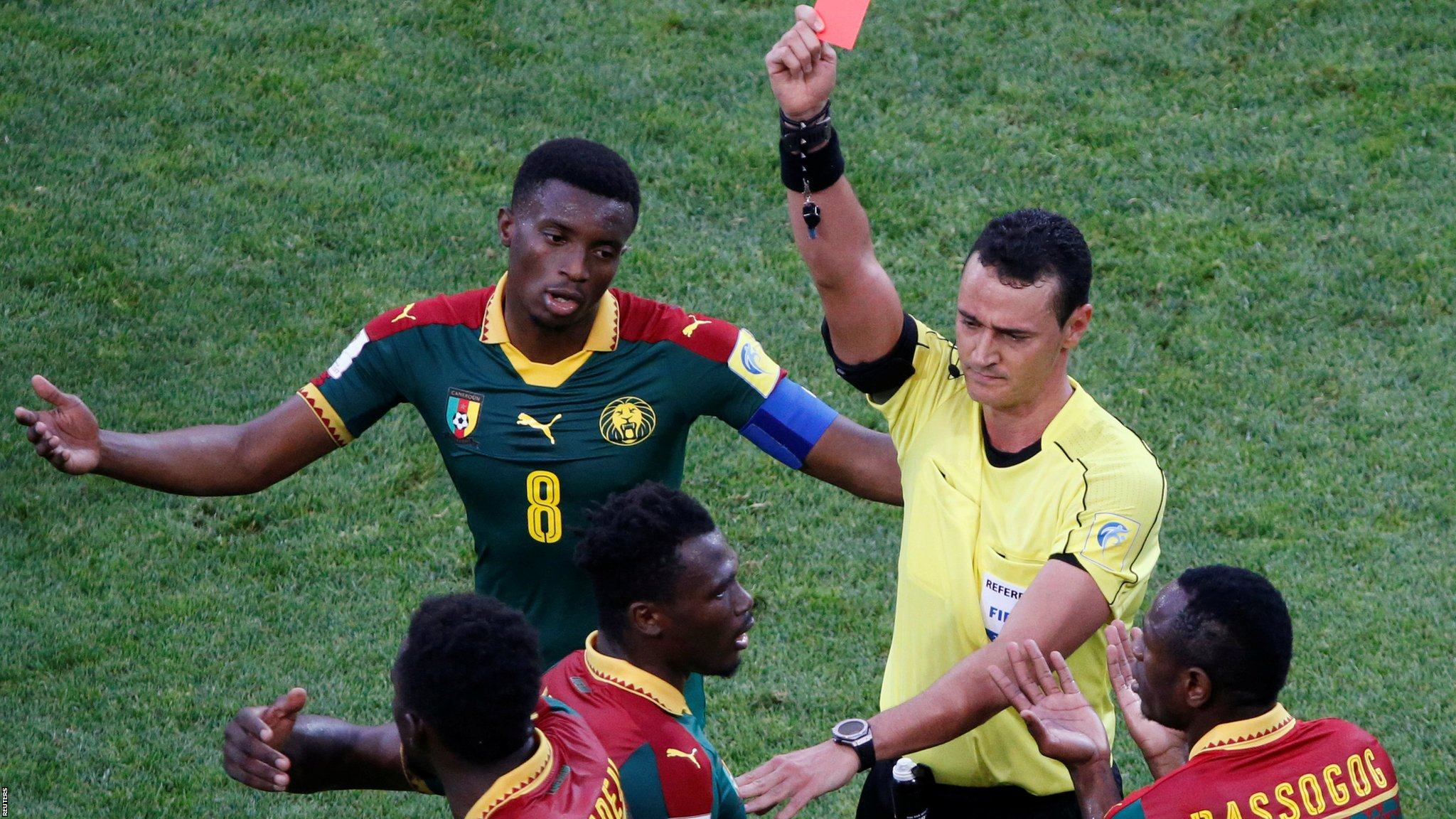 Booked, red card, no red card, someone else sent off - VAR confusion for Cameroon