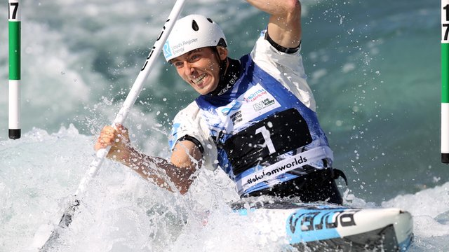 David Florence of Great Britain in action during the Men's C1