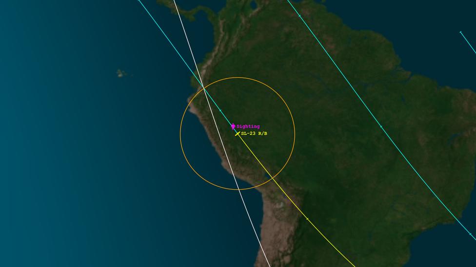 La compañía sin fines de lucro Aerospace señaló en su portal web que el objeto fue avistado reingresando en la atmósfera el 27 de enero sobre Pucallpa, en el norte de Perú.