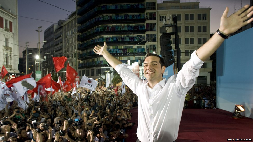 Syriza Party leader Alexis Tsipras greets supporters during a main pre election party rally 14 June 2012