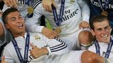 Christiano Ronaldo and Gareth Bale celebrate their 2014 Super Cup win in Cardiff