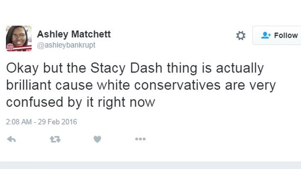 Okay but the Stacy Dash thing is actually brilliant cause white conservatives are very confused by it right now.