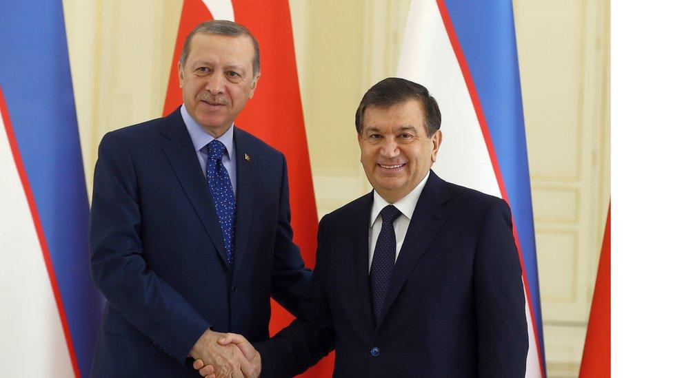 الرئيس التركي، رجب طيب اردوغان، يصافح نظيره الأوزبكي، شوقت ميرزيوياف، قبل اجتماع ثنائي في سمرقند يوم 18 نوفمبر/تشرين الثاني 2016