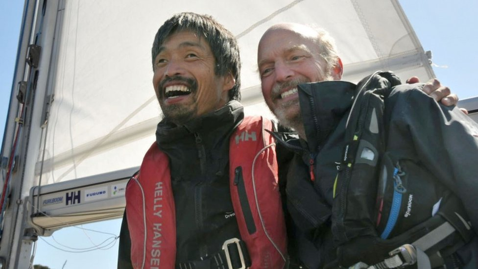 Blind Japanese sailor completes non-stop Pacific voyage
