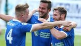 Andrew Waterworth (centre) celebrates scoring against Portadown