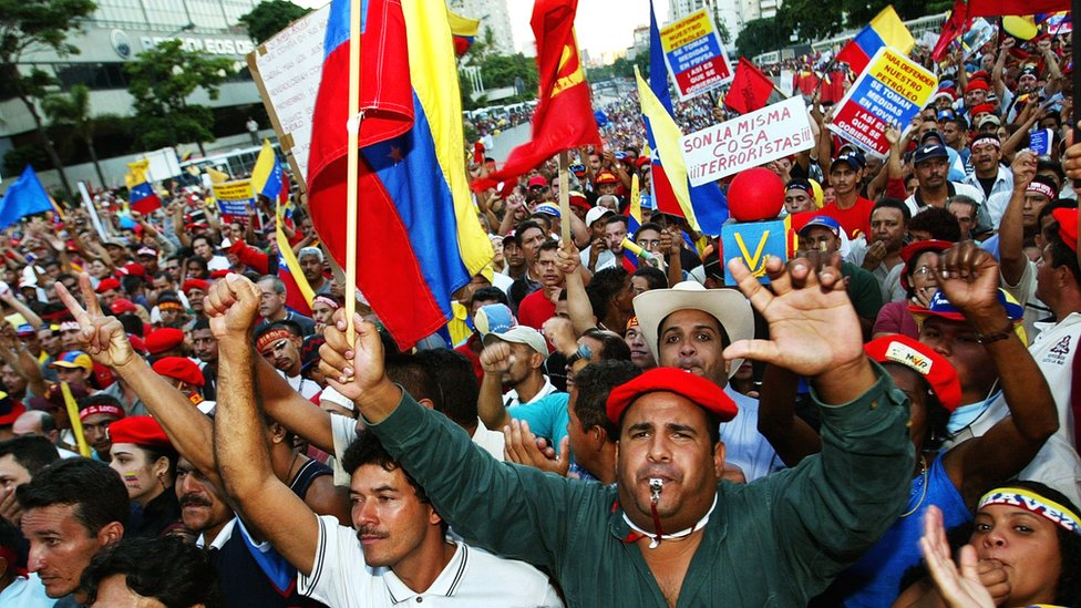 Pro-Chavez rally in Caracas, 2002