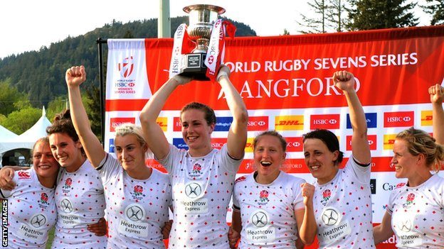 England women celebrate winning World Series Sevens