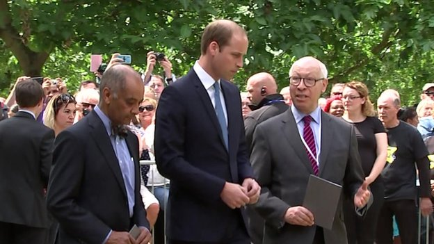 Prince William attends a service in Hyde Park in memory of the 52 people killed in the London bombings of 7 July 2005.