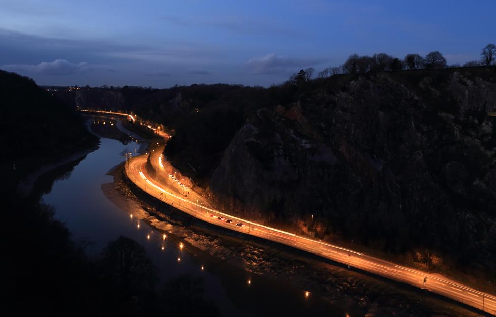 Night traffic along the Avon Gorge