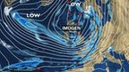 BBC synoptic chart showing Storm Imogen across the UK.