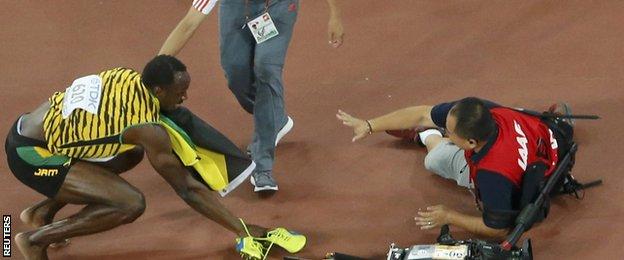 Bolt and cameraman