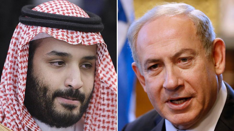 El príncipe heredero saudita Mohammed bin Salman y el primer ministro israelí, Benjamin Netanyahu.