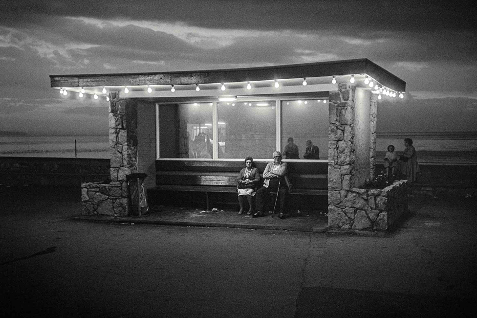 Beach shelter at night in Rhyl