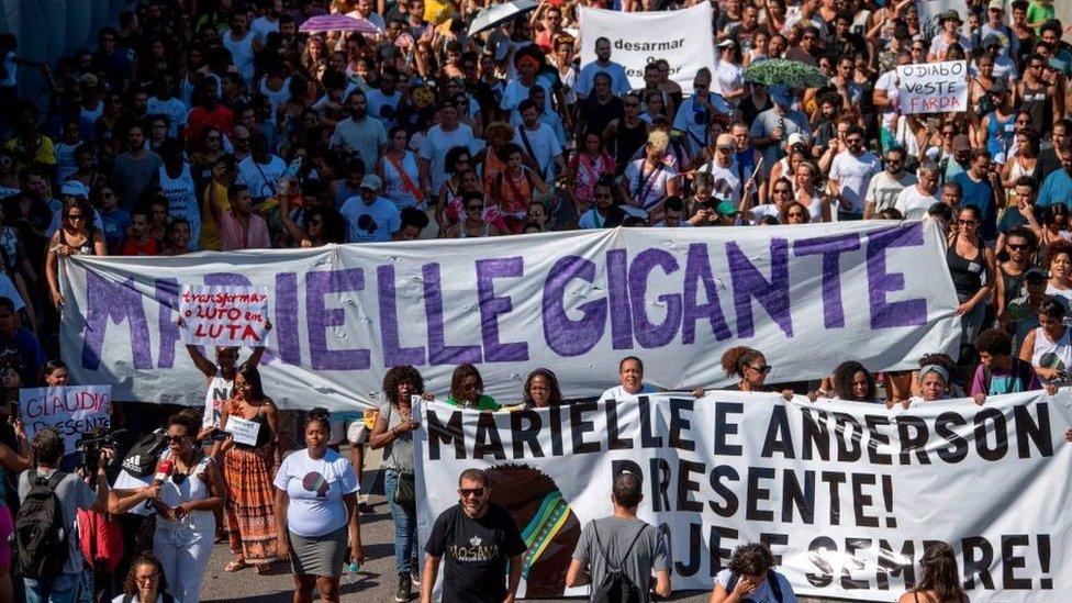 Manifestaciones tras el asesinato de Marielle Franco.