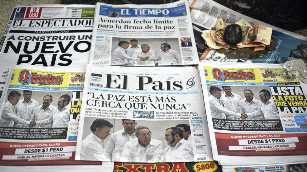 Colombian newspaper front pages in Cali show pictures of the agreements achieved between the government and Farc rebels in Cuba on 24 September 2015.