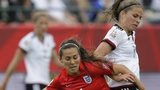 Fara Williams is challenged by Melanie Leupolz