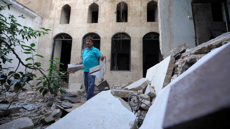 منزل مدمر في سوريا