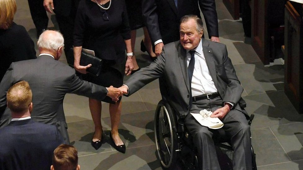 George H W Bush hospitalised a day after his wife's funeral